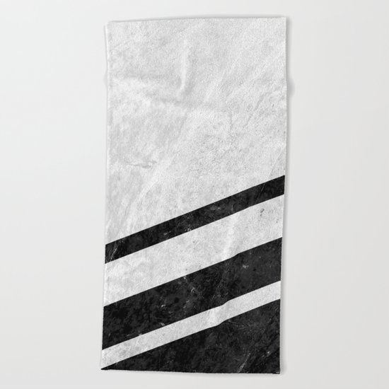 White Striped Marble Beach Towel
