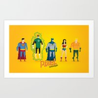 justice league Art Prints featuring Justice League of America - Pixel Nostalgia by Boo! Studio