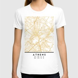 ATHENS GREECE CITY STREET MAP ART T-shirt