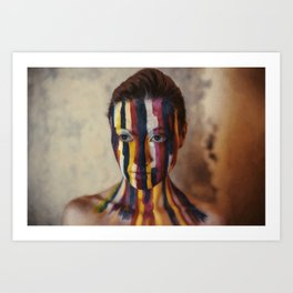 Woman With Colorful Painted Face Art Print