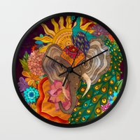 india Wall Clocks featuring India by Aubree Eisenwinter