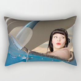 """Plucky Pilot"" - The Playful Pinup - Pilot Pin-up Girl in Airplane by Maxwell H. Johnson Rectangular Pillow"