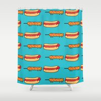 eat Shower Curtains featuring Dog Eat Dog World by Picomodi
