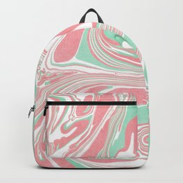 Elegant pink green abstract watercolor marble Backpack