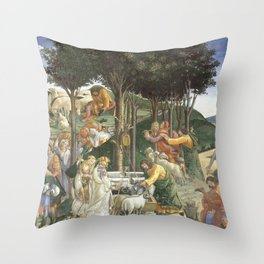 """Sandro Botticelli """"Youth of Moses"""", Sistine Chapel. Throw Pillow"""