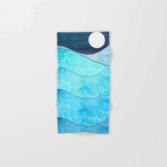 Ice Blue Waves Hand & Bath Towel