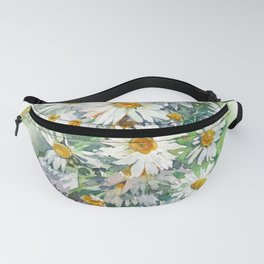 Watercolor chamomile white flowers Fanny Pack