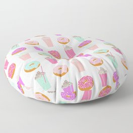 Coffee and Donuts pastel pink mint cute pattern gifts for valentines day love Floor Pillow