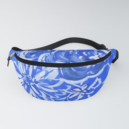 blue and white: floral composition Fanny Pack