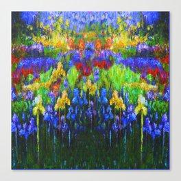 BLUE YELLOW IRIS GREEN GARDEN PAINTING Canvas Print