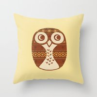 navajo Throw Pillows featuring Navajo Owl  by Terry Fan