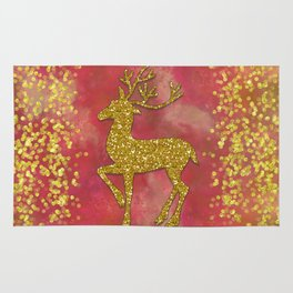 Sparkling Glitter Gold Red Christmas Deer Rug