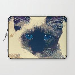 holy birma cat blue eyes vector art foggy night Laptop Sleeve