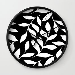 WHITE AND BLACK LEAVES DESIGN PATTERN Wall Clock
