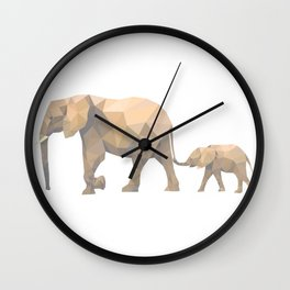 Mommy and I, Happy Elephants Walking on the Dawn Wall Clock