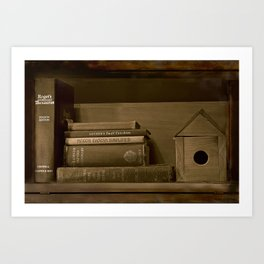 Rustic Bookshelf in Sepia Art Print