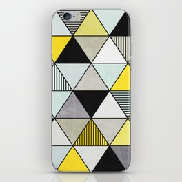 Colorful Concrete Triangles 2 - Yellow, Blue, Grey iPhone Skin