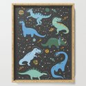 Dinosaurs in Space in Blue by latheandquill