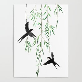 green willow leaf and swallow watercolor Poster