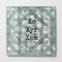 Xe/Xyr/Xem Pronouns Blue Tint Metal Print
