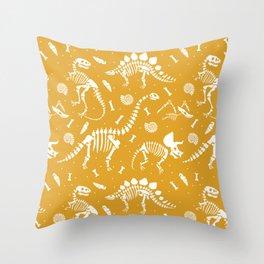 Dinosaur Fossils on Mustard Yellow Throw Pillow