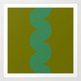 groovy minimalist pattern aqua waves on olive Art Print