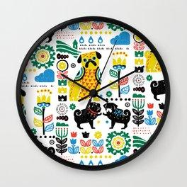Scandinavian Pugs Wall Clock