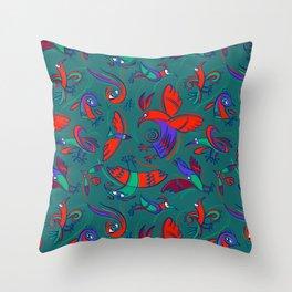 Pattern with Firebirds (on dark green background) Throw Pillow