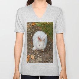 Fluffy white bunny Unisex V-Neck