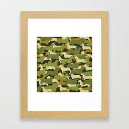 Camo Doxie in Green Framed Art Print