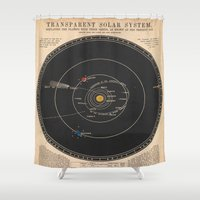 solar system Shower Curtains featuring Solar System by Le petit Archiviste