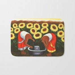 Two women in sunflower fields by Diego Rivera Bath Mat