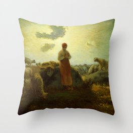 "Jean-François Millet ""The Keeper of the Herd"" Throw Pillow"