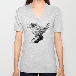 Wren bird ink painting Unisex V-Neck