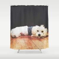 chuck Shower Curtains featuring Chuck by courtneeeee