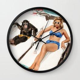 Chimpanzee and a Woman Sunbathing Wall Clock
