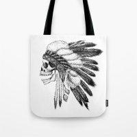 native american Tote Bags featuring Native American by Motohiro NEZU