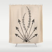 katniss Shower Curtains featuring Katniss Plant by Meghan Hill