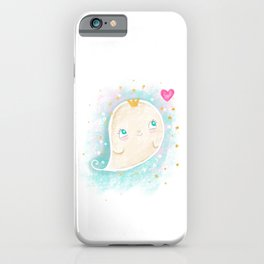 Cute ghost happy illustration iPhone Case