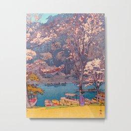 Cherry Blossoms at Arashiyama Japanese Woodblock Print Hiroshi Yoshida Metal Print