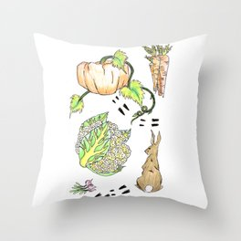 Bunny in The Veg Patch Throw Pillow