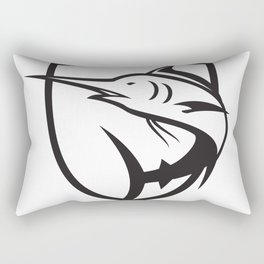 Blue Marlin Jumping Crest Black and White Rectangular Pillow