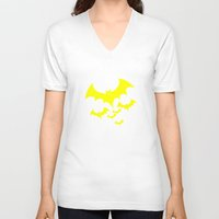 bat V-neck T-shirts featuring Bat by Spooky Dooky