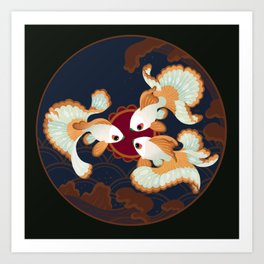 Three tosakin goldfish Art Print