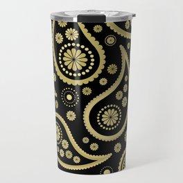 Paisley Funky Design Black and Gold Travel Mug