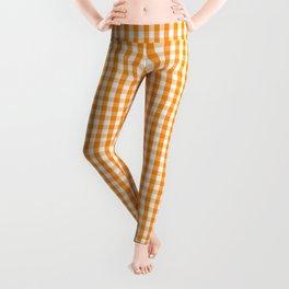 Pumpkin Orange and White Gingham Check Plaid Leggings