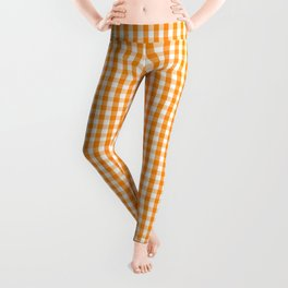 Pumpkin Orange and White Gingham Check Plaid Leggings