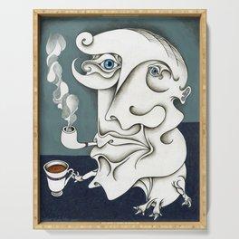 Retrato de un famoso escritor fumando su pipa Serving Tray