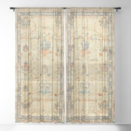 Fine Crafted Old Century Authentic Colorful Yellow Dusty Blues Greys Vintage Rug Pattern Sheer Curtain