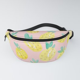 Watercolor Pineapples on Pink Fanny Pack